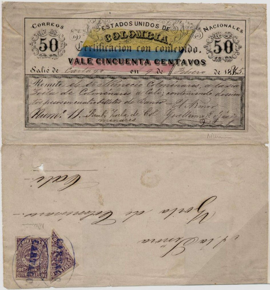 1865 Issue 50 centavos cubierta cover